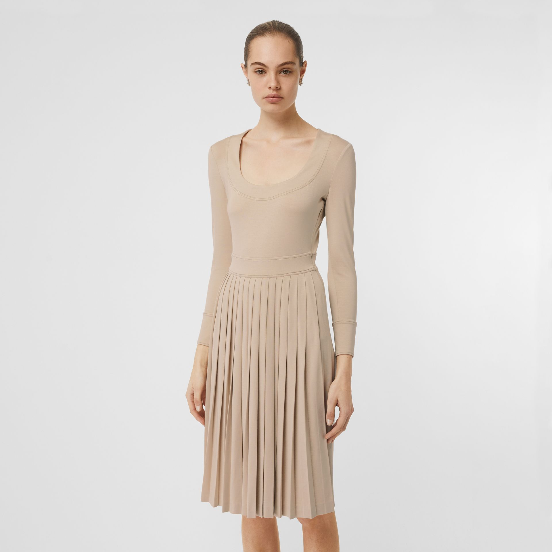 Long-sleeve Pleated Dress in Teddy Beige - Women | Burberry Hong Kong S.A.R - gallery image 0