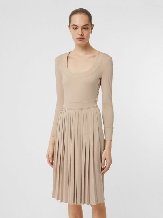 Long-sleeve Pleated Dress in Teddy Beige