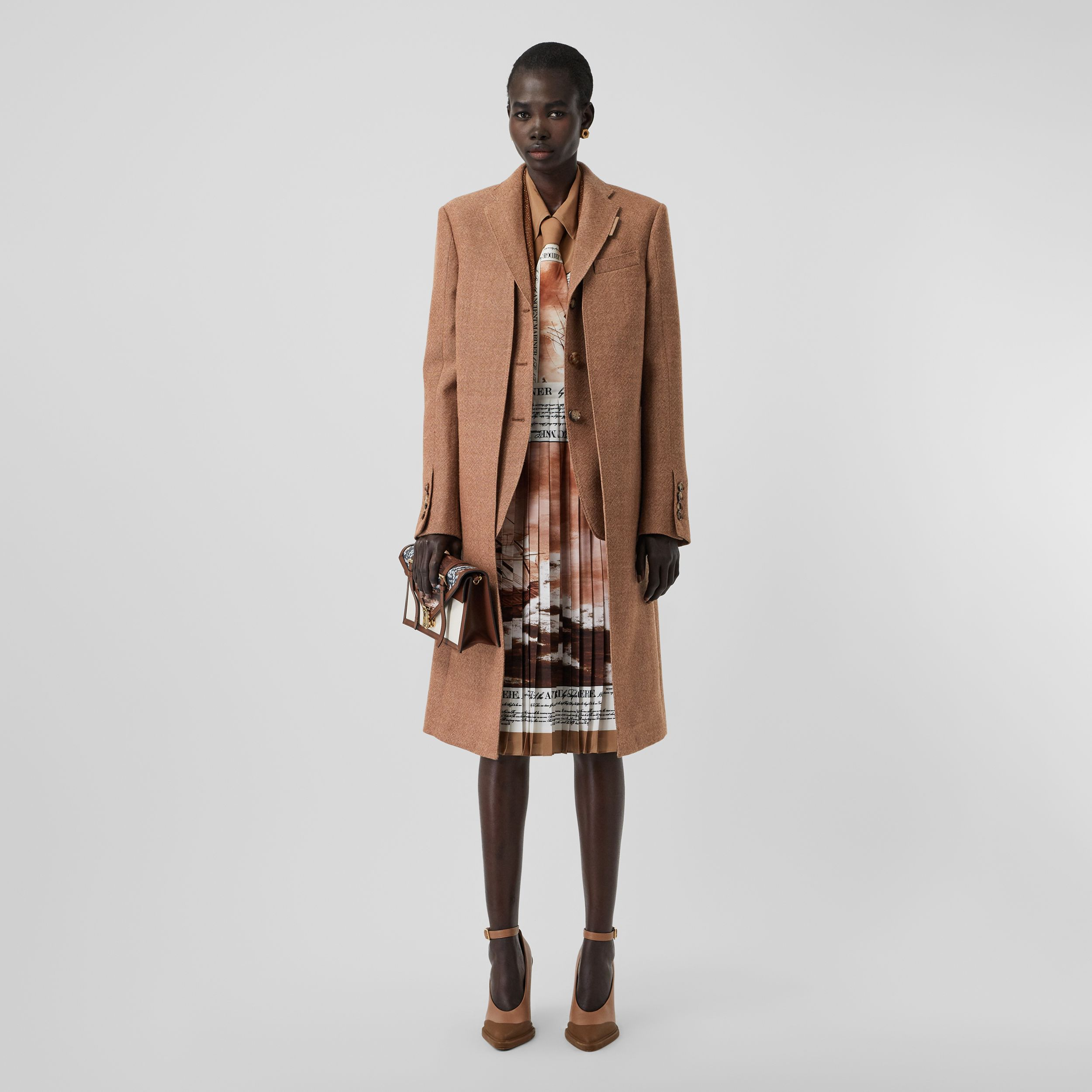 Waistcoat Detail Wool Tailored Coat in Bronze - Women | Burberry - 1