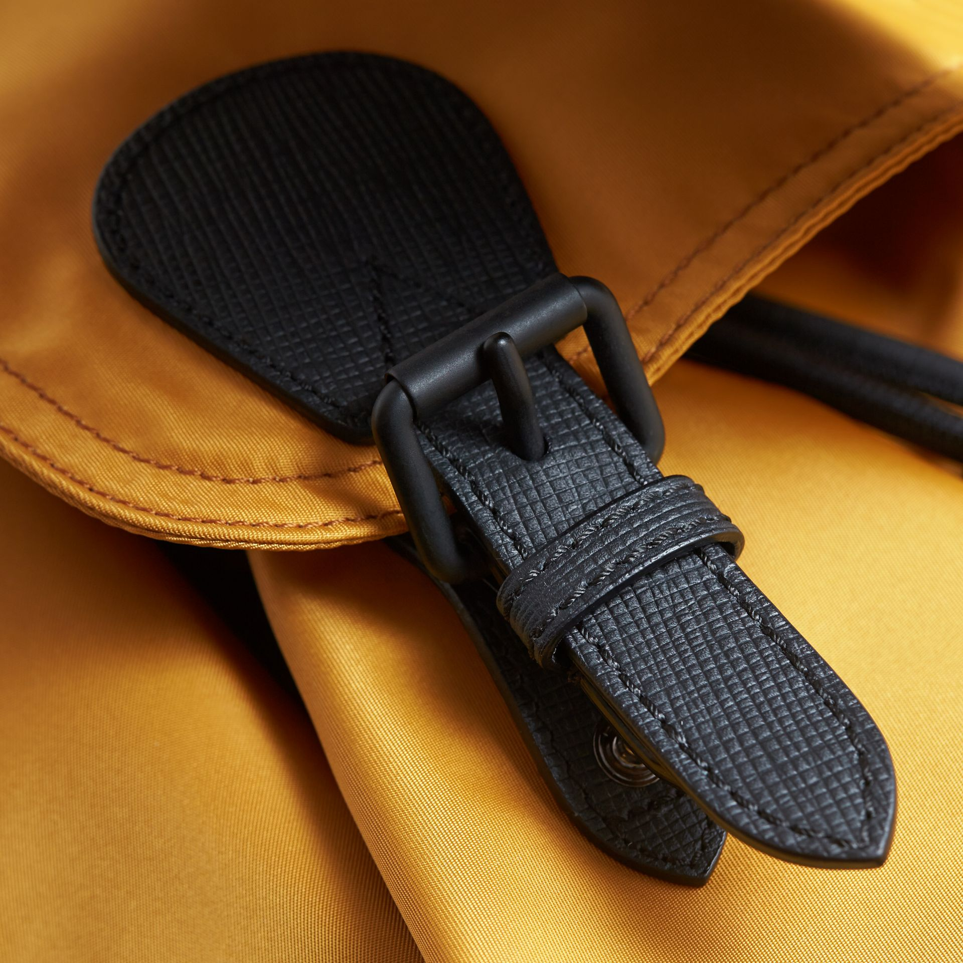 The Large Rucksack in Technical Nylon and Leather in Ochre Yellow - gallery image 6