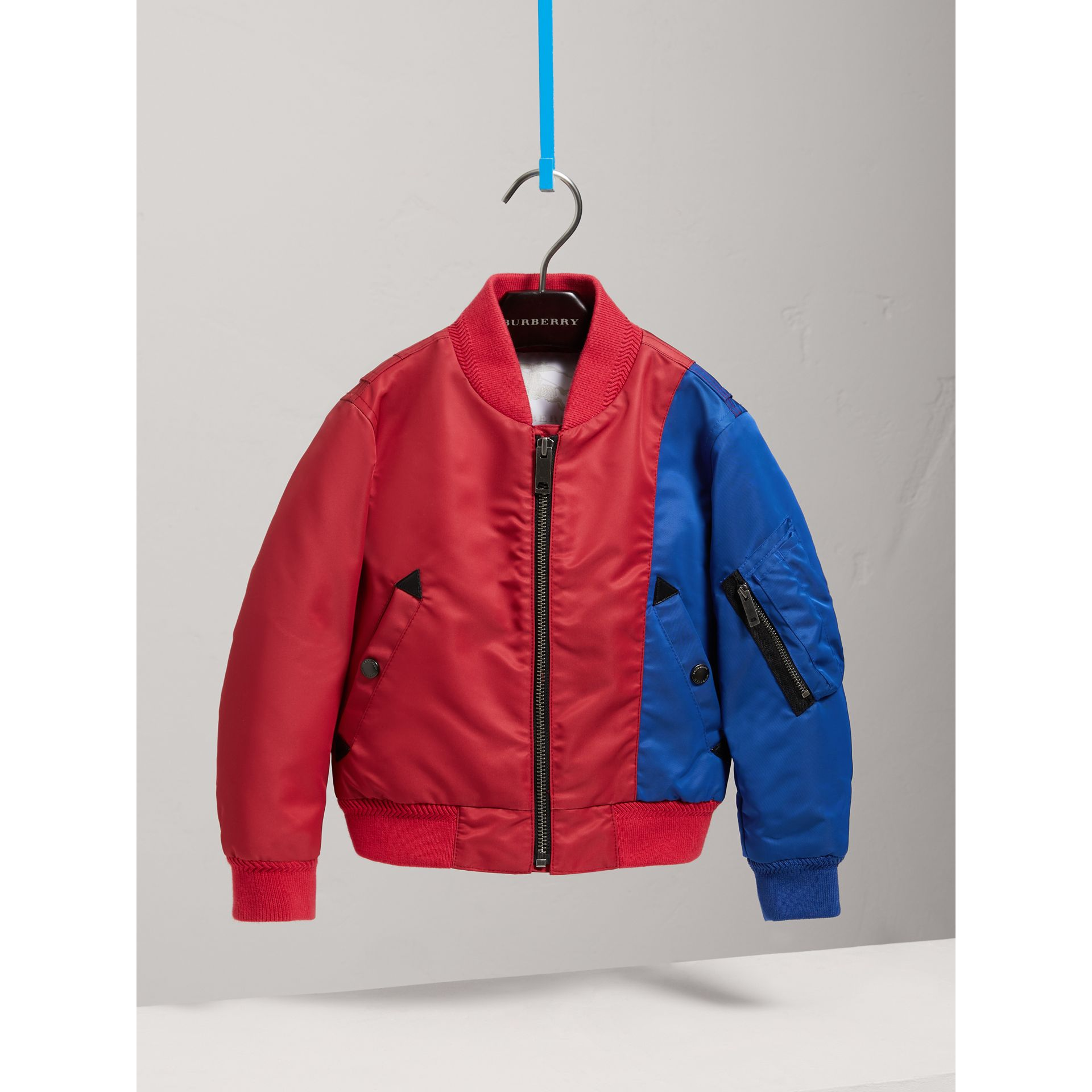 Colour Block Lightweight Bomber Jacket in Coral Red - Boy | Burberry - gallery image 0