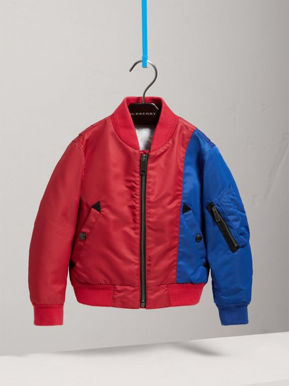 Colour Block Lightweight Bomber Jacket in Coral Red