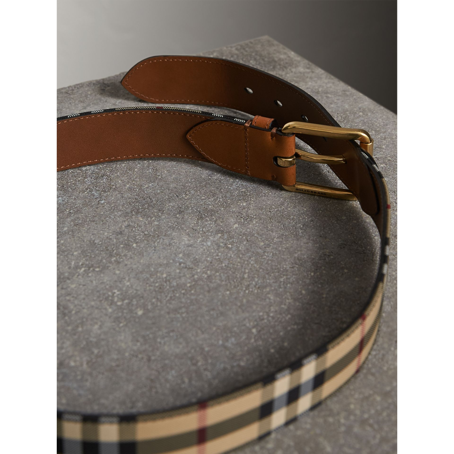 Horseferry Check and Leather Belt in Tan - Men | Burberry United Kingdom - gallery image 4