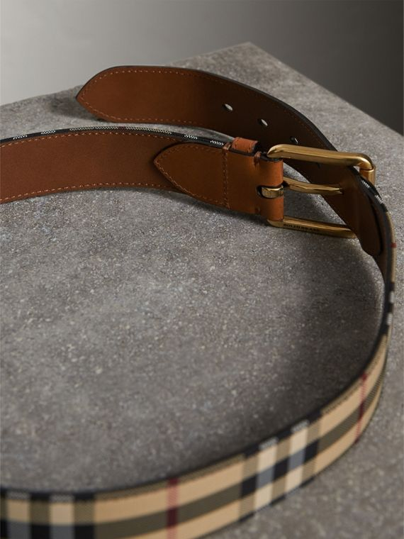 Horseferry Check and Leather Belt in Tan - Men | Burberry United Kingdom - cell image 3
