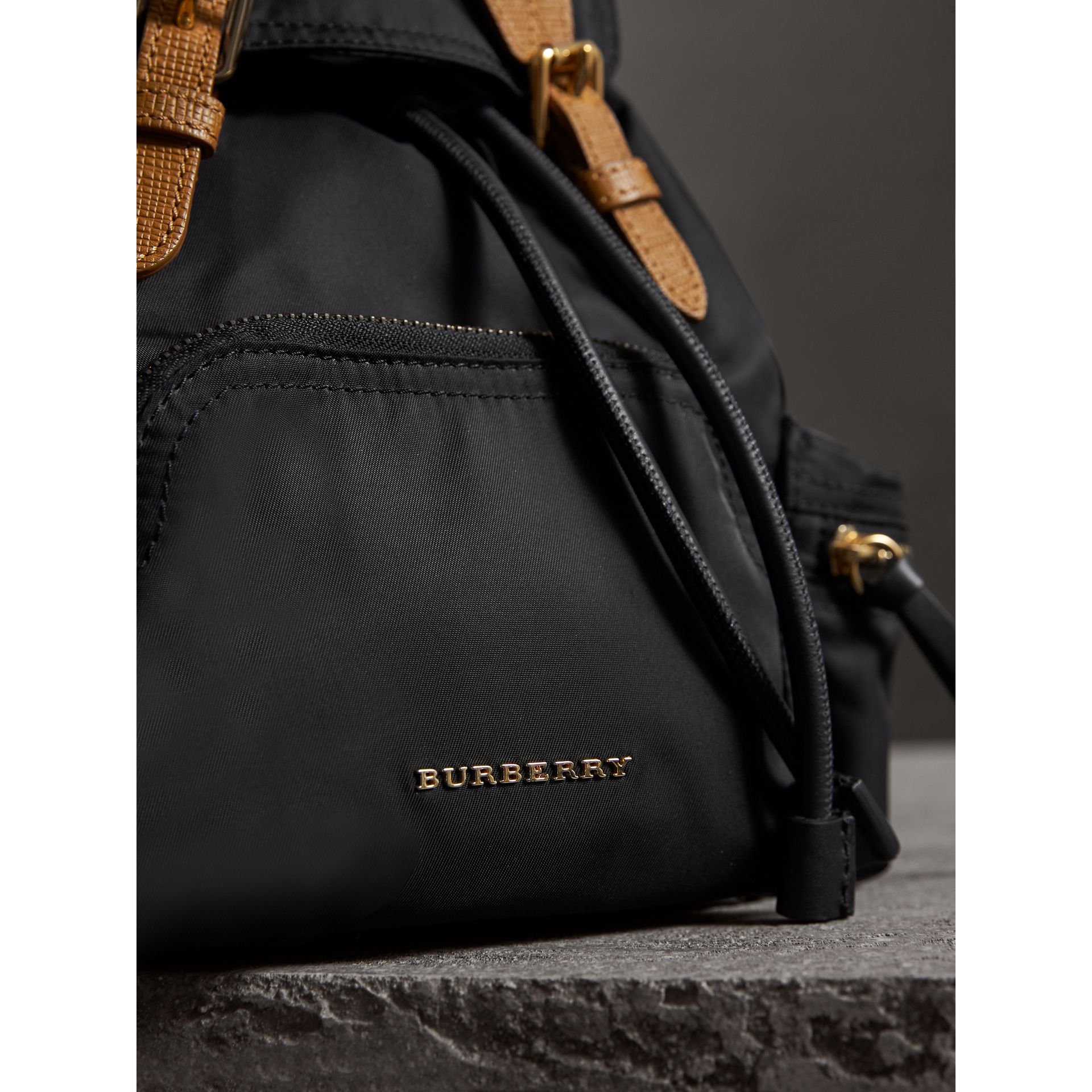 The Small Rucksack in Technical Nylon and Leather in Black - Women | Burberry Singapore - gallery image 6