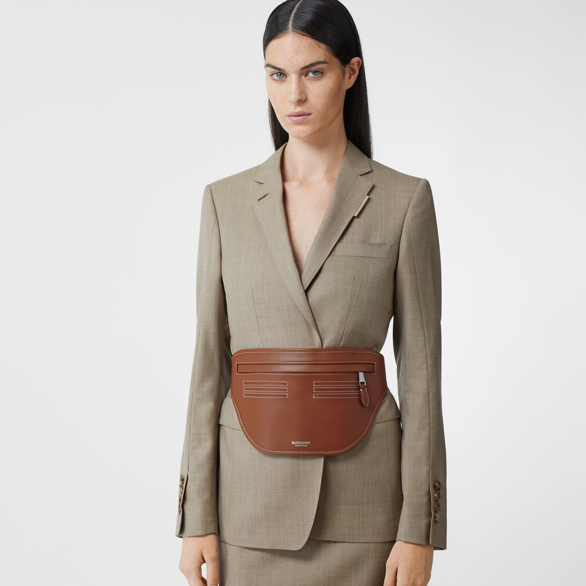 Topstitched Leather Brummell Bum Bag in Tan | Burberry - gallery image 2