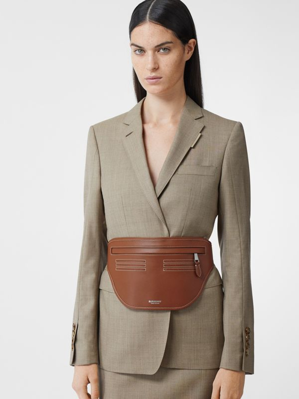Topstitched Leather Brummell Bum Bag in Tan | Burberry - cell image 2