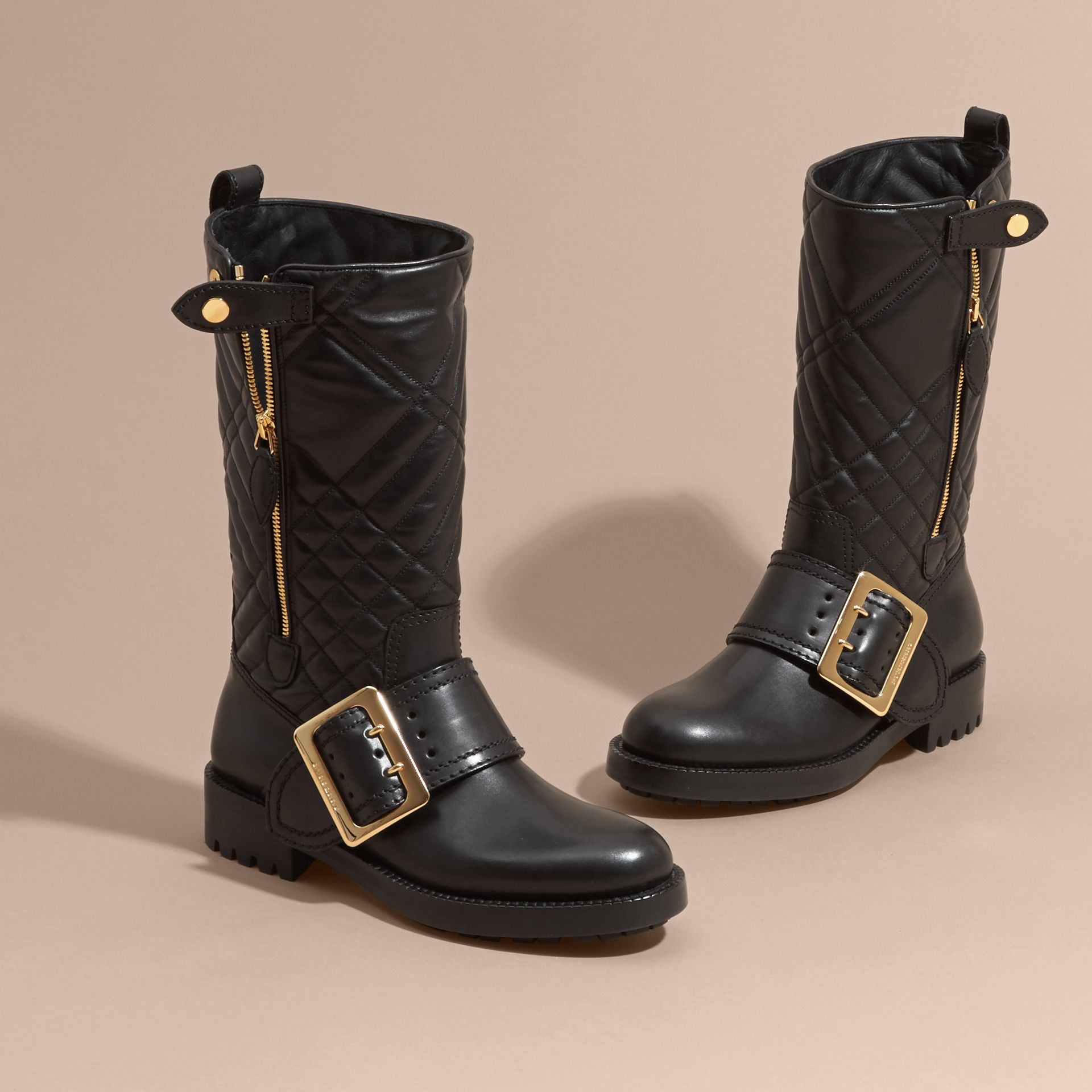 Black Buckle Detail Check Quilted Leather Boots - gallery image 3