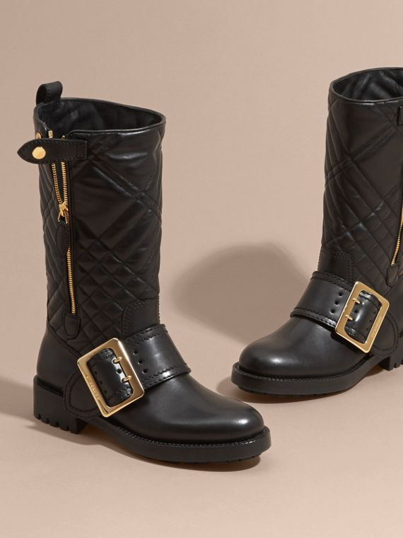 Black Buckle Detail Check Quilted Leather Boots - cell image 2