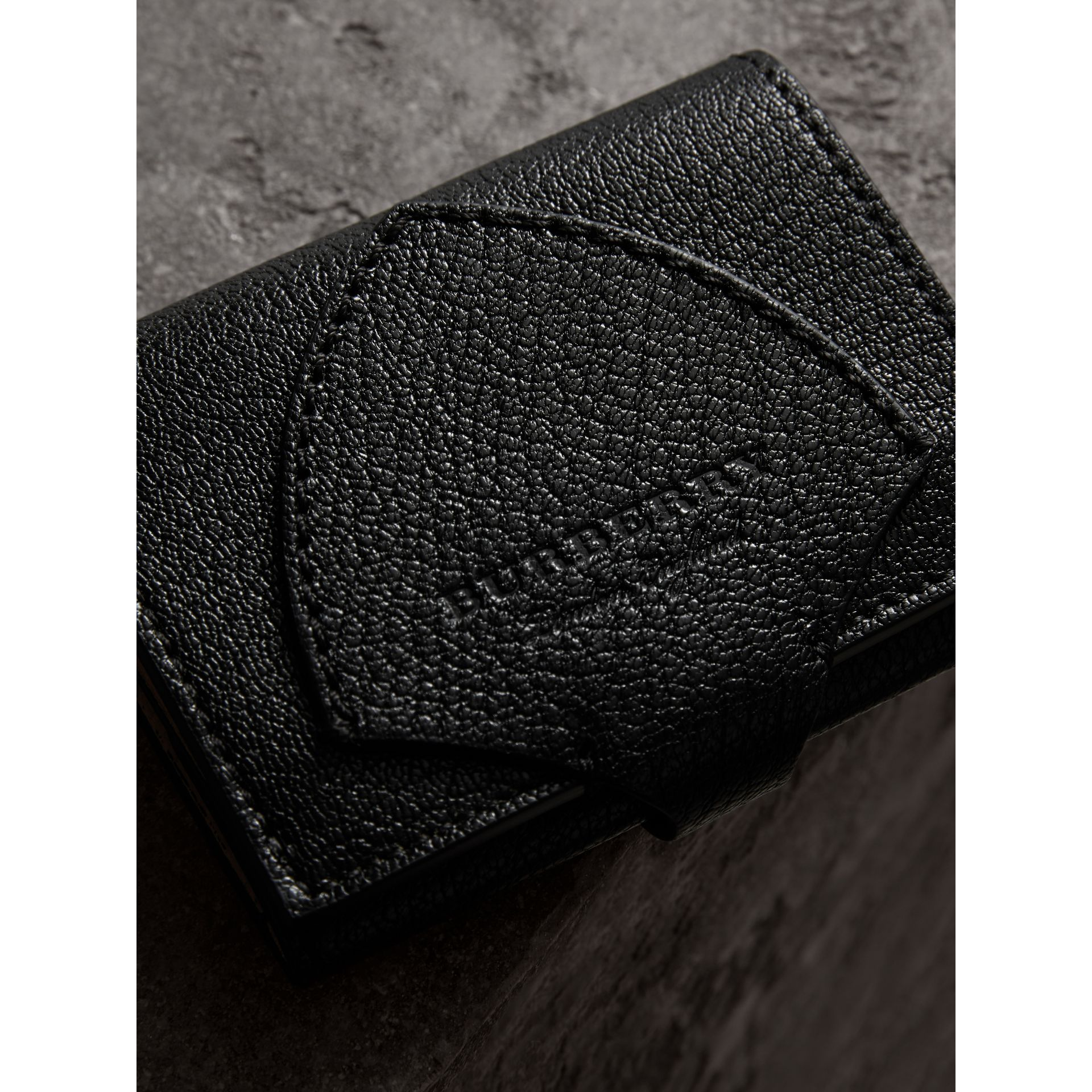 Equestrian Shield Two-tone Leather Folding Wallet in Black - Women | Burberry United Kingdom - gallery image 1