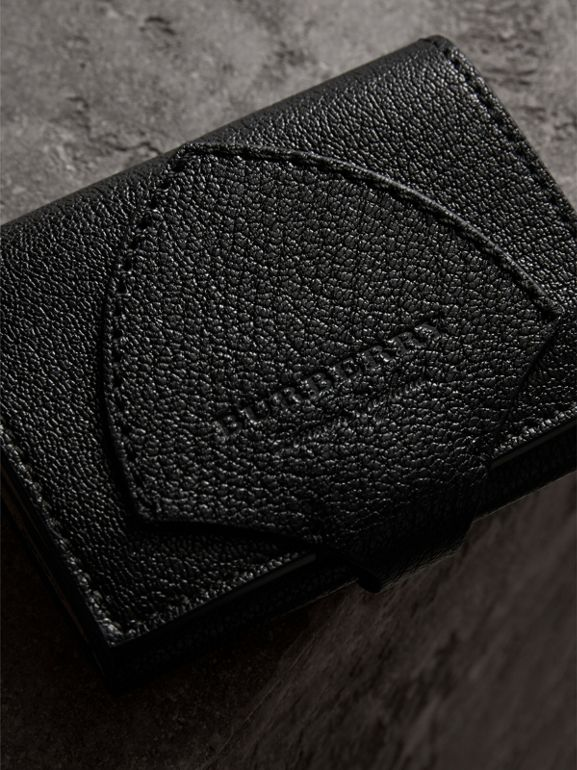Equestrian Shield Two-tone Leather Folding Wallet in Black - Women | Burberry United Kingdom - cell image 1