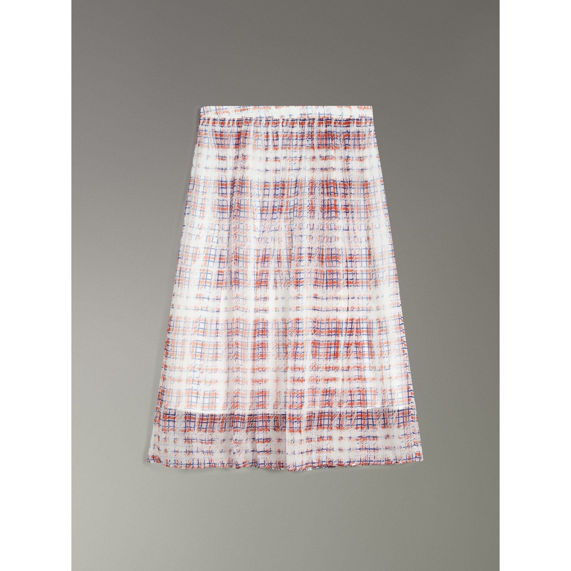 Scribble Check Print Silk Skirt in Military Red - Women | Burberry Canada - gallery image 3