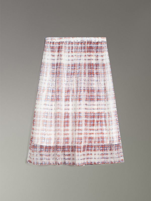 Scribble Check Print Silk Skirt in Military Red - Women | Burberry - cell image 3