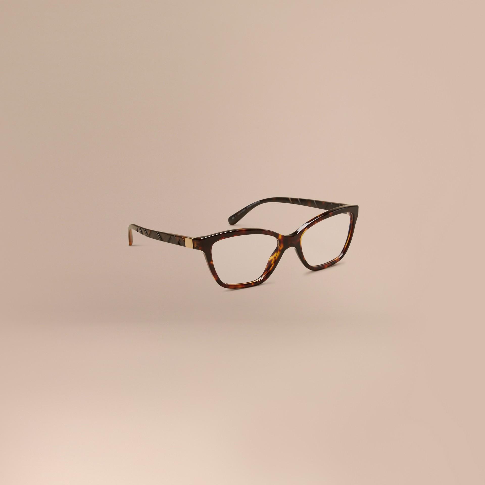 Écaille de tortue Monture œil de chat pour lunettes de vue à motif check Écaille  Tortue - photo de la galerie 1