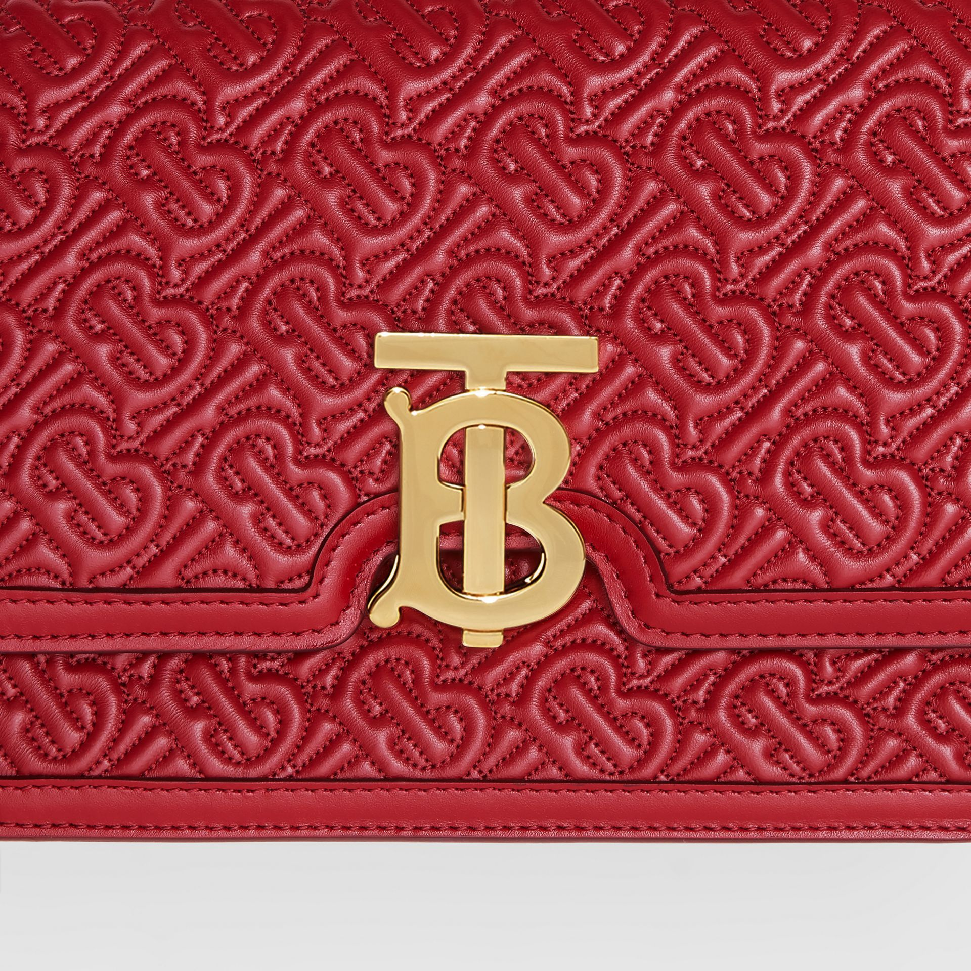 Small Quilted Monogram Lambskin TB Bag in Dark Carmine | Burberry United Kingdom - gallery image 1