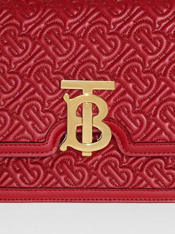 Small Quilted Monogram Lambskin TB Bag in Dark Carmine | Burberry United Kingdom - cell image 1