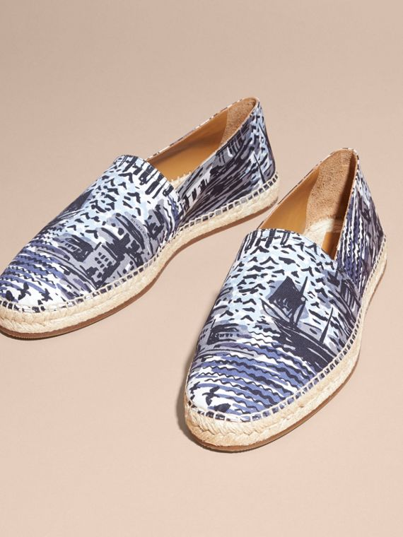 British Seaside Print Cotton Espadrilles Steel Blue - cell image 2