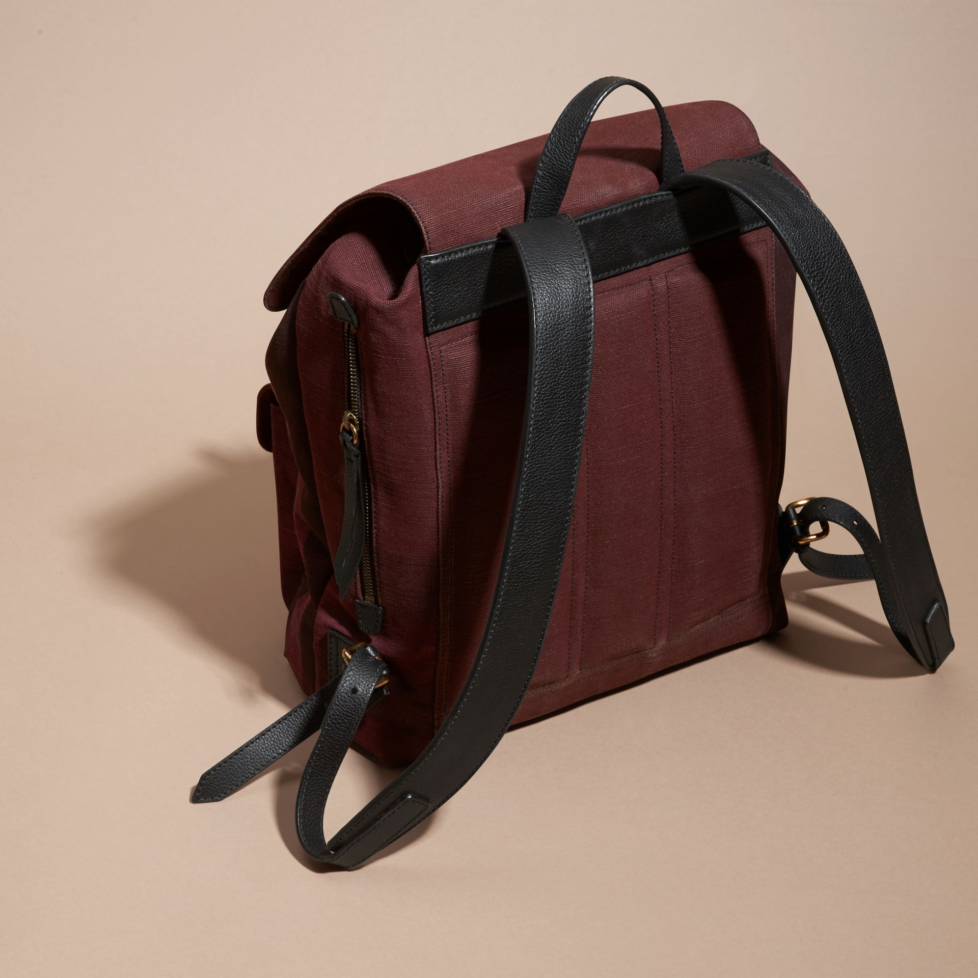 Claret Overdyed Canvas Check Backpack Claret - gallery image 4