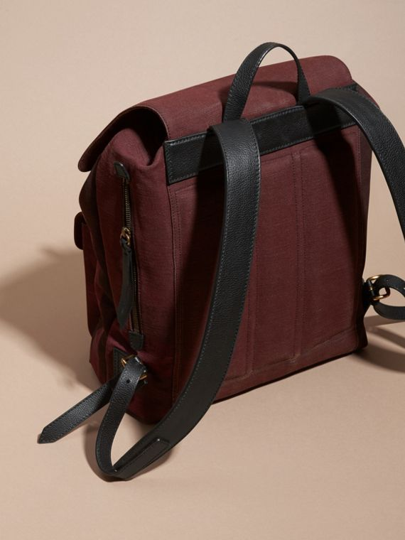 Claret Overdyed Canvas Check Backpack Claret - cell image 3