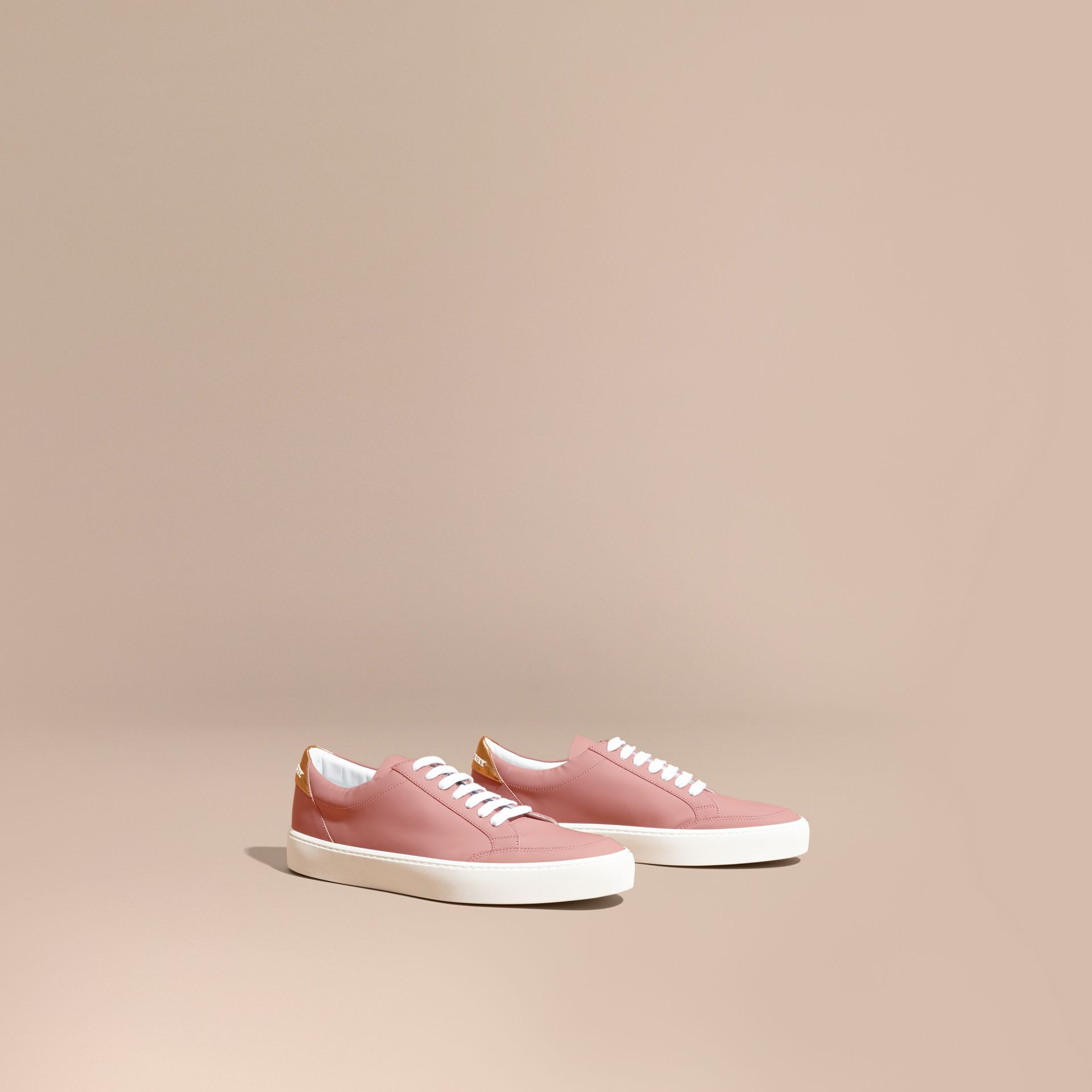 Metallic Detail Leather Trainers Rose Pink - gallery image 1
