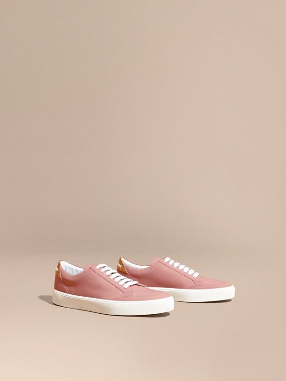Metallic Detail Leather Sneakers Rose Pink
