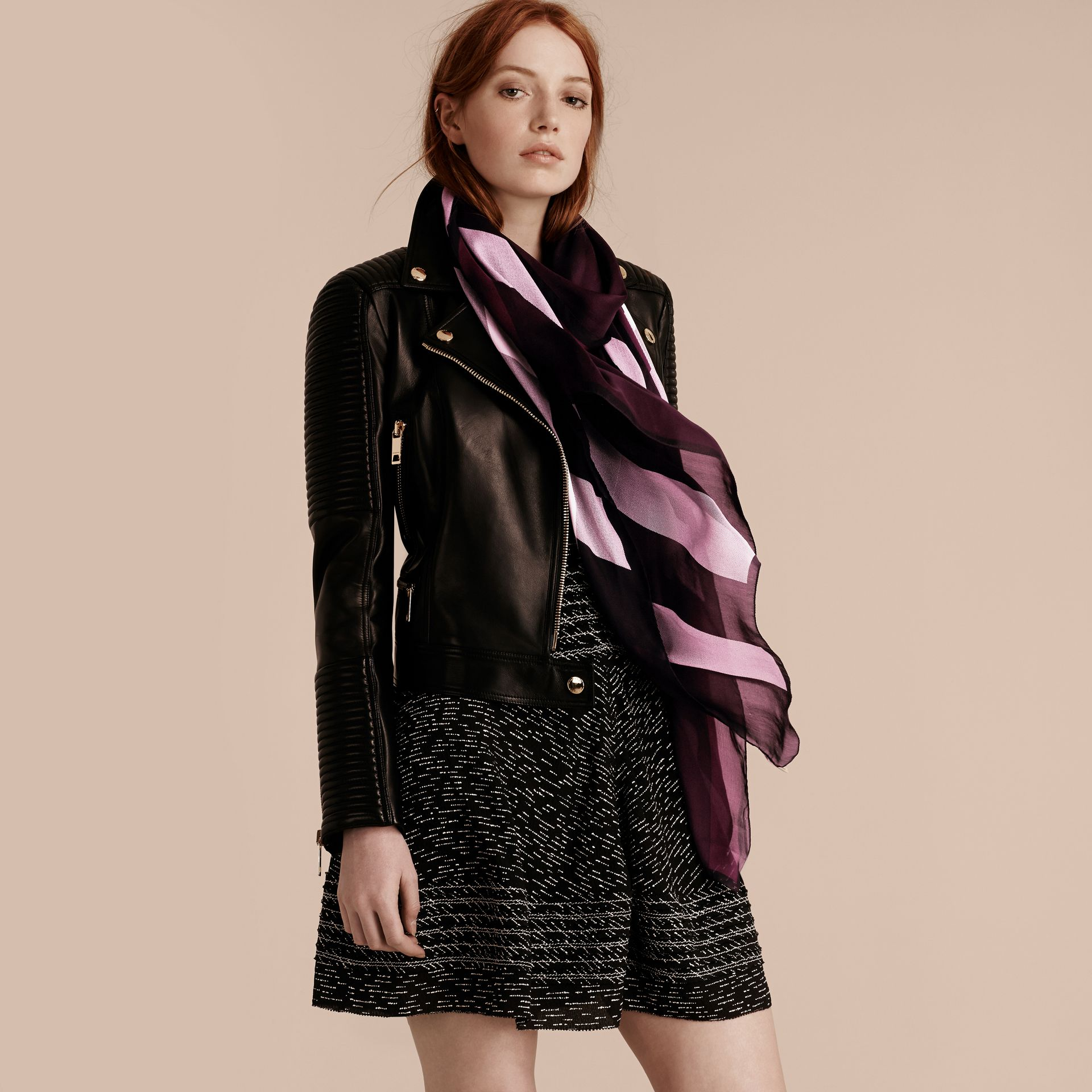 Lightweight Check Silk Scarf in Aubergine - Women | Burberry - gallery image 3