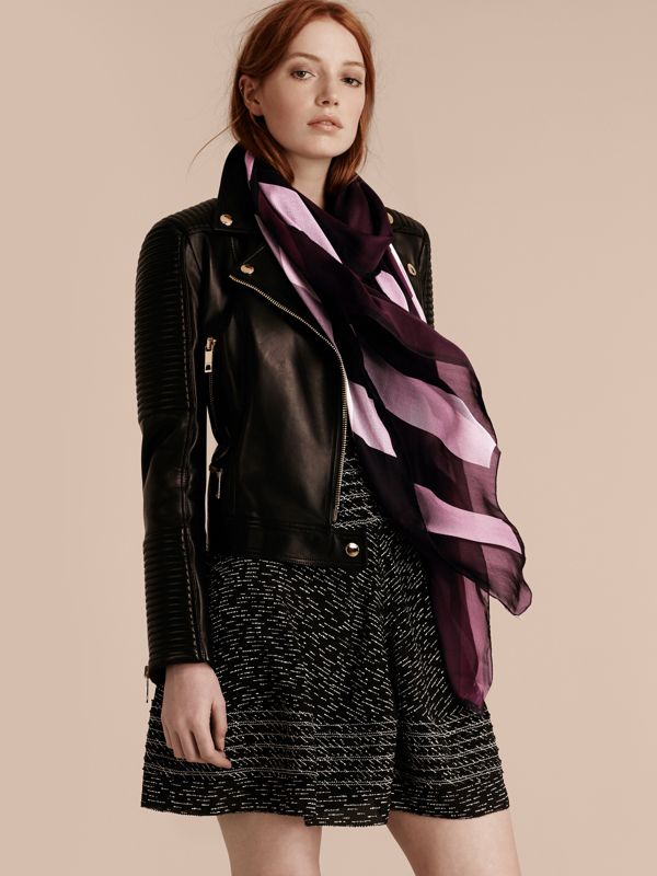 Lightweight Check Silk Scarf in Aubergine - Women | Burberry - cell image 2