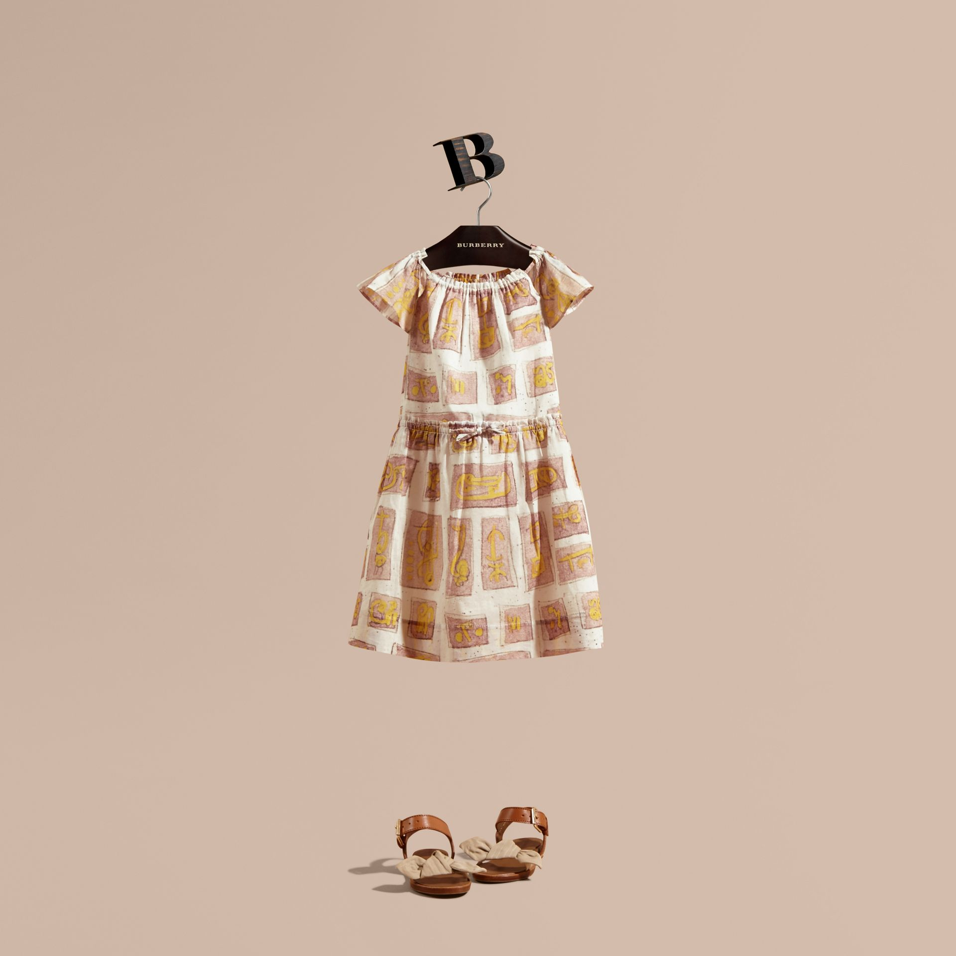 Framed Motifs Print Cotton Dress in Pale Ash Rose | Burberry Canada - gallery image 1