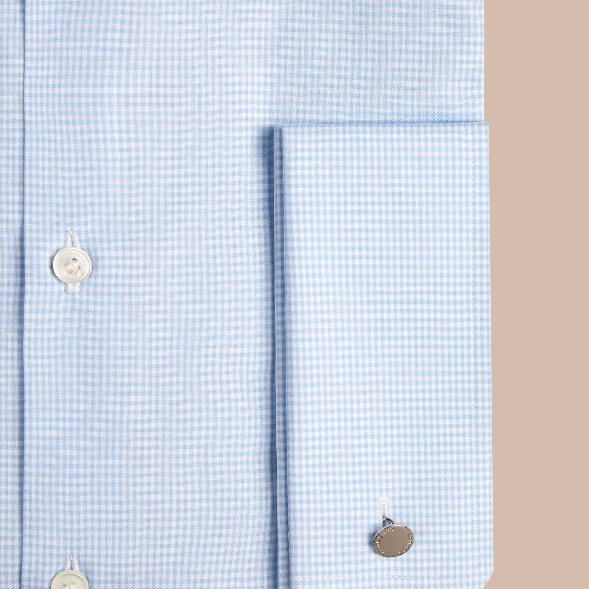City blue Modern Double-cuff Gingham Cotton Poplin Shirt - gallery image 2