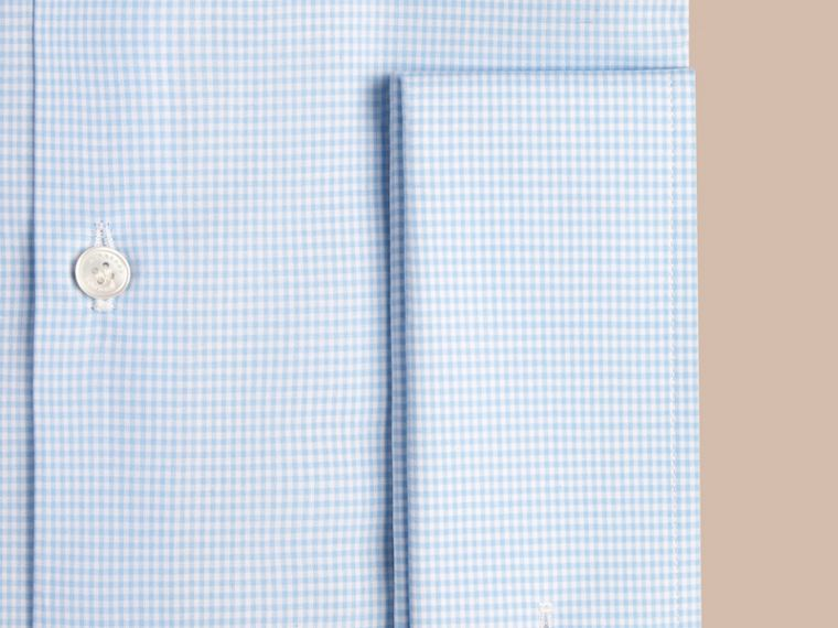 City blue Modern Double-cuff Gingham Cotton Poplin Shirt - cell image 1
