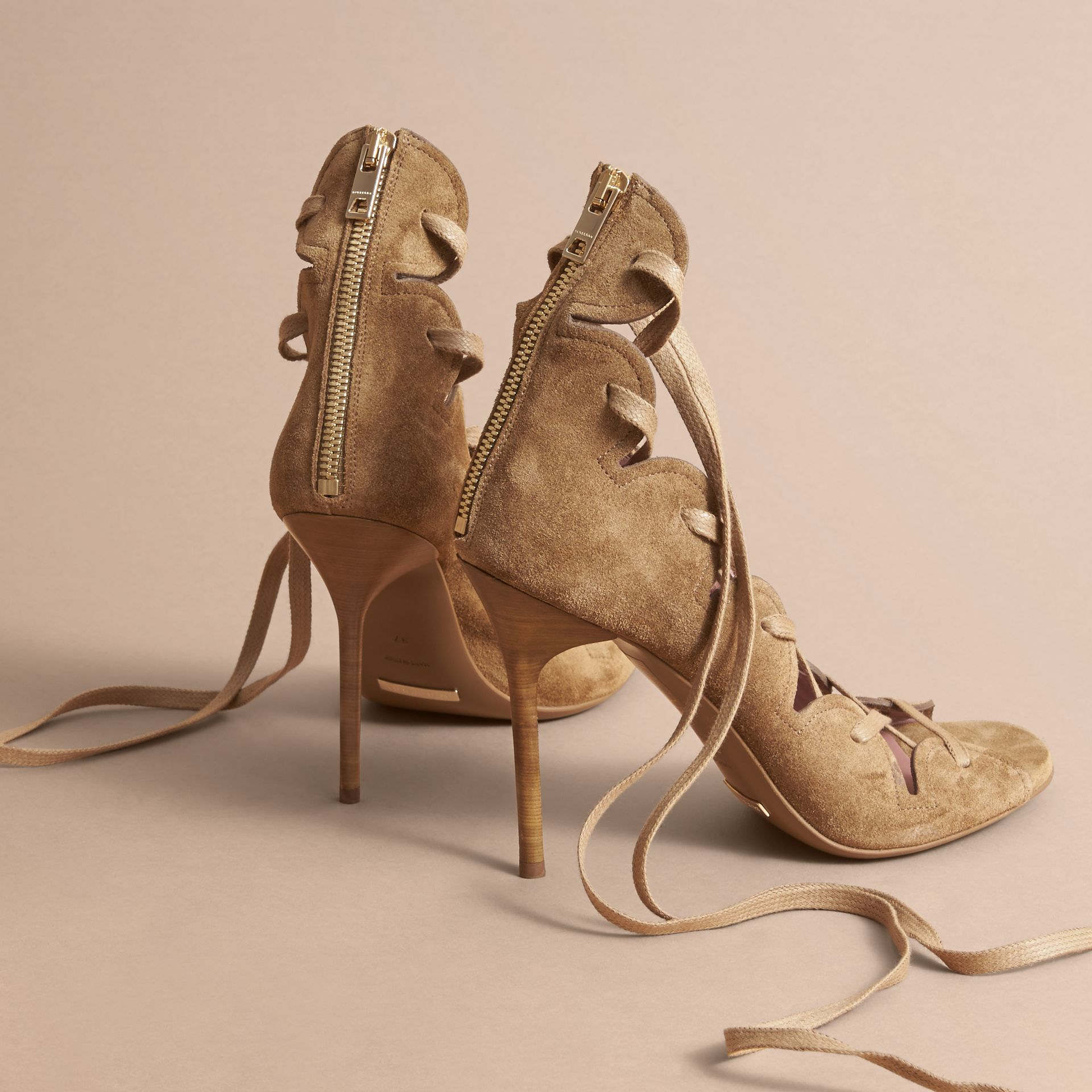 Scalloped Suede Lace-up Sandals in Sandstone - Women | Burberry - gallery image 4