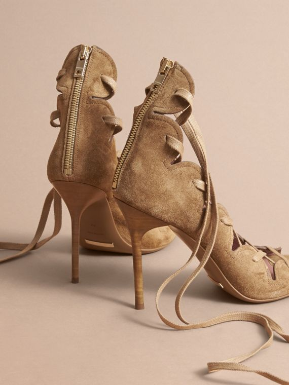 Scalloped Suede Lace-up Sandals in Sandstone - Women | Burberry - cell image 3