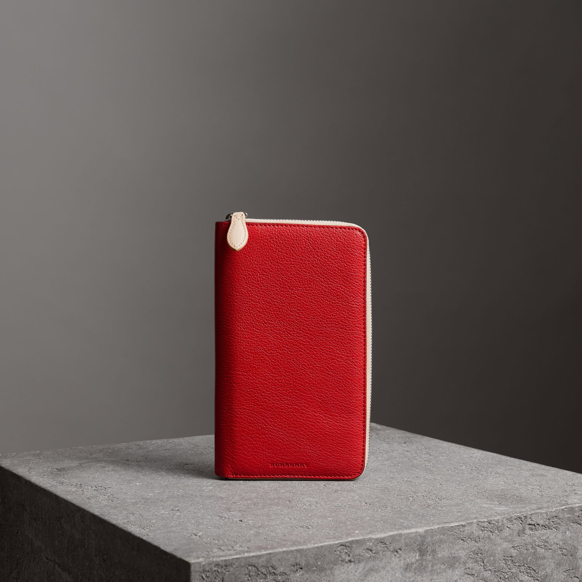 Two-tone Leather Ziparound Wallet in Bright Red - Men | Burberry - gallery image 0