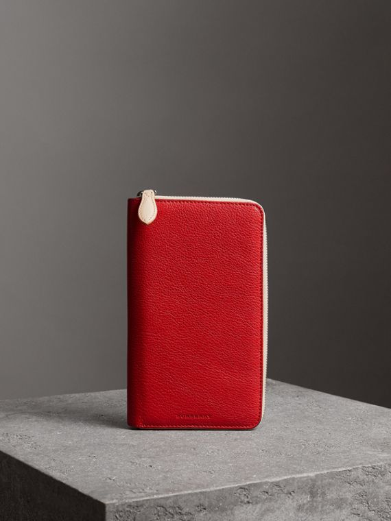 Two-tone Leather Ziparound Wallet in Bright Red