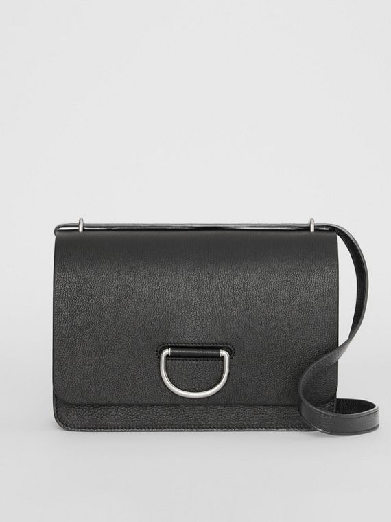 The Medium Leather D-ring Bag in Black