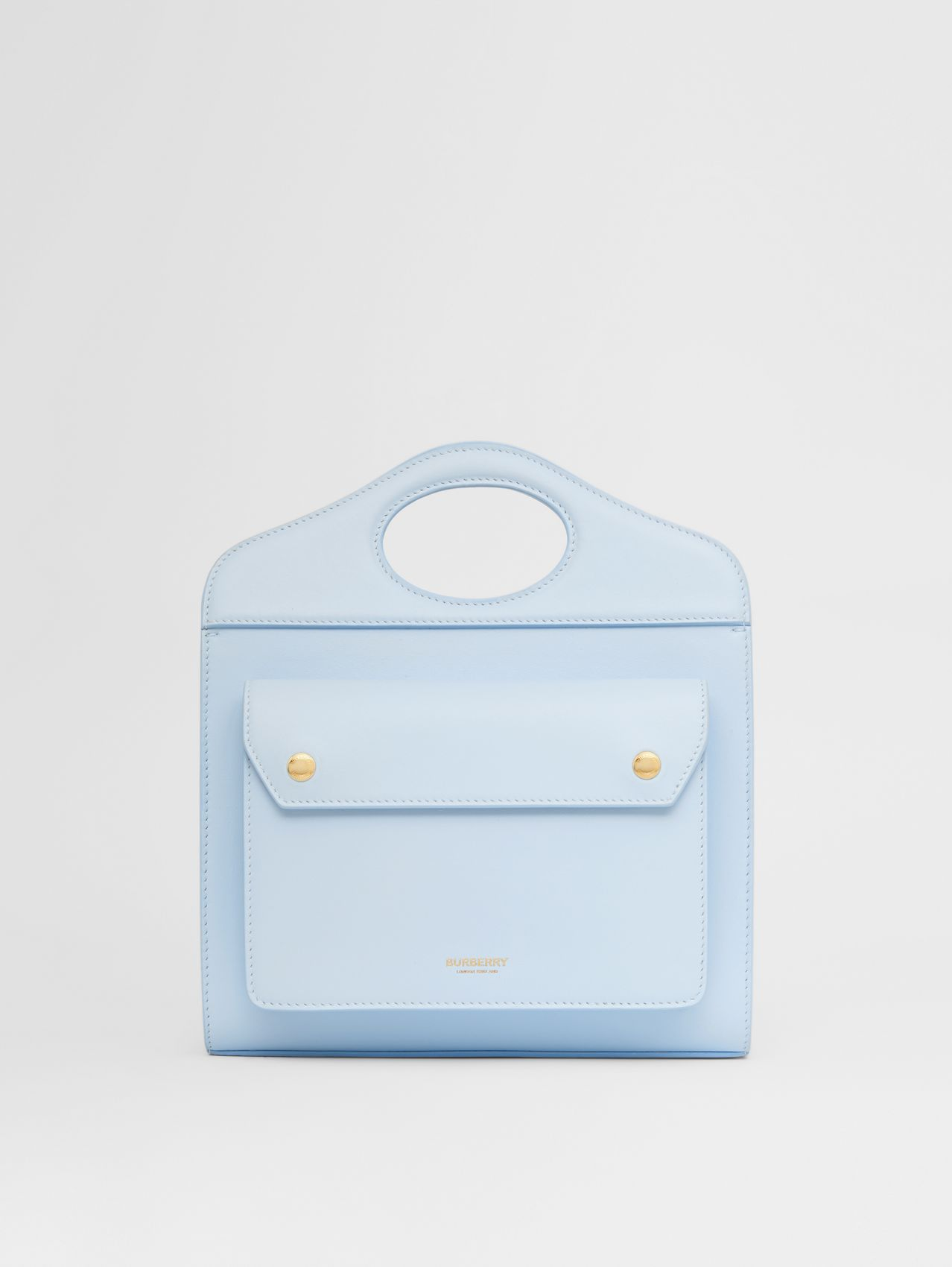 Mini Leather Pocket Bag in Pale Blue