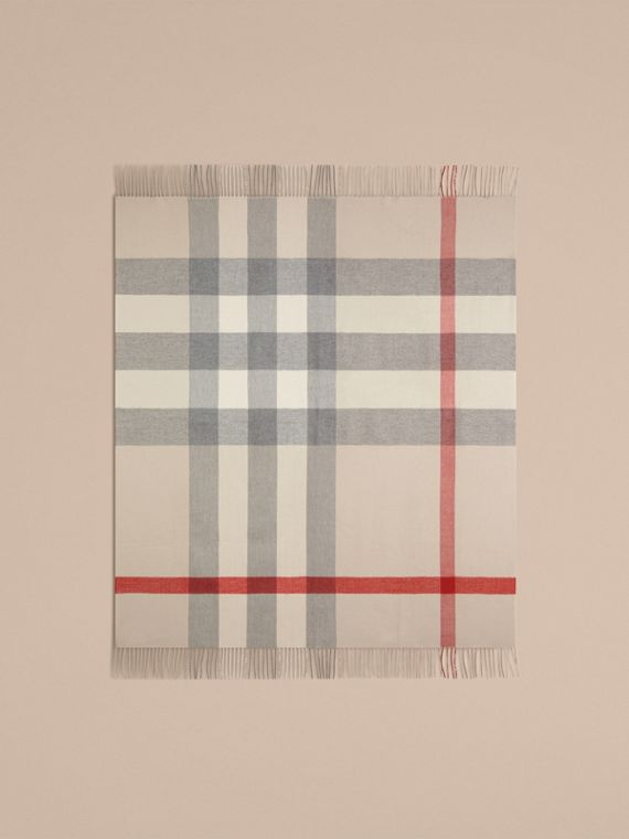 Check Merino Wool Baby Blanket in Stone | Burberry - cell image 3
