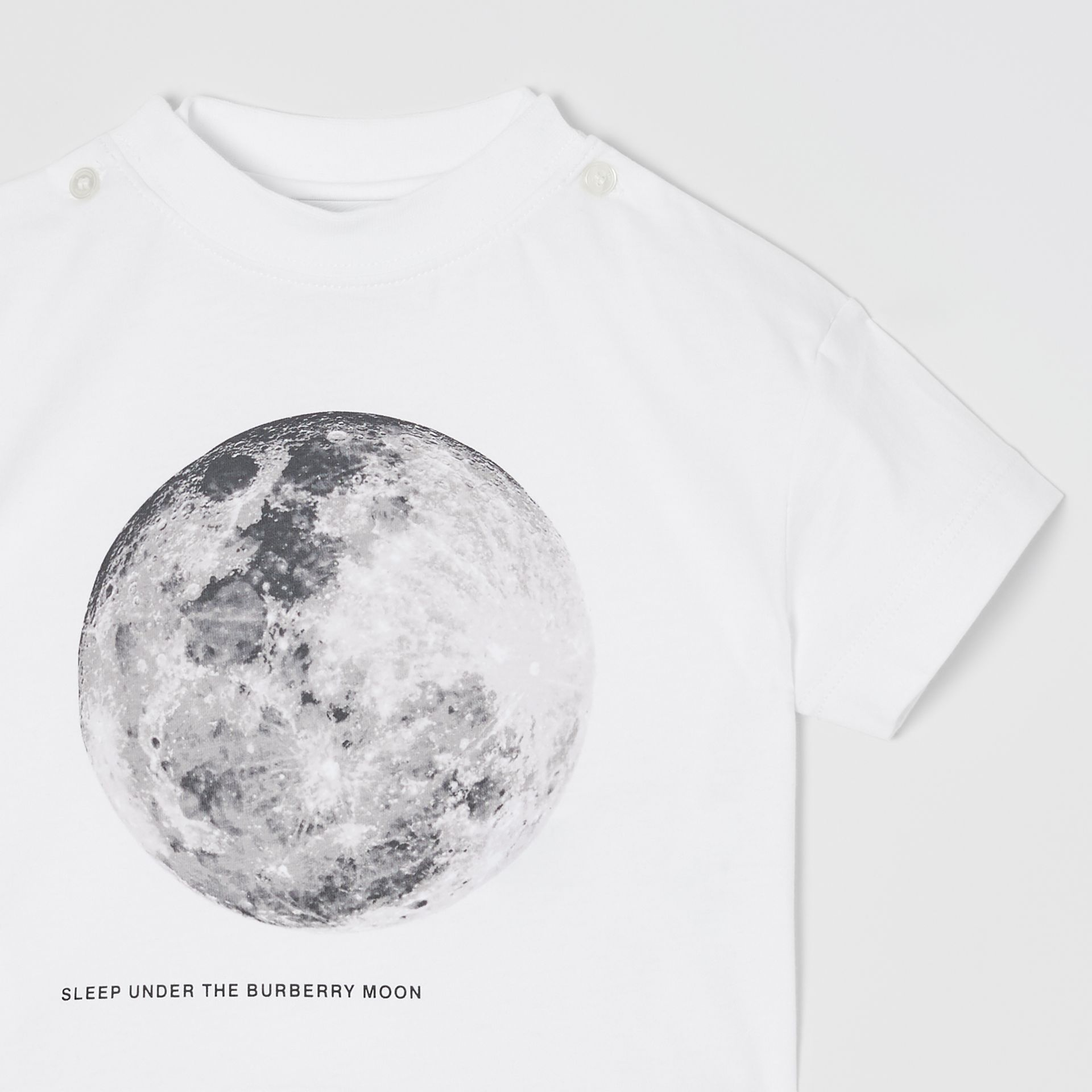 Moon Print Cotton T-shirt in White - Children | Burberry - gallery image 5