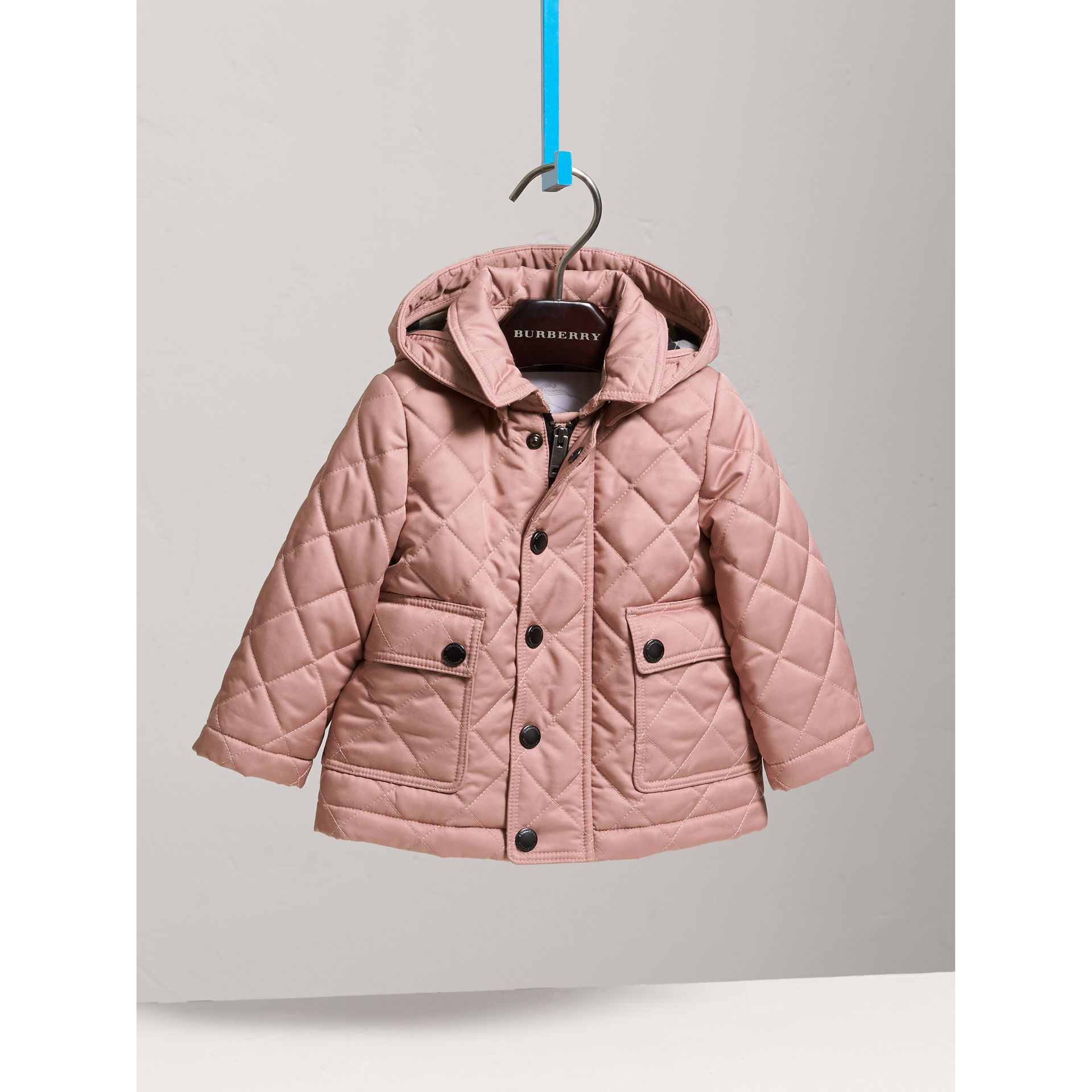 Detachable Hood Quilted Jacket in Pale Rose | Burberry United Kingdom - gallery image 0