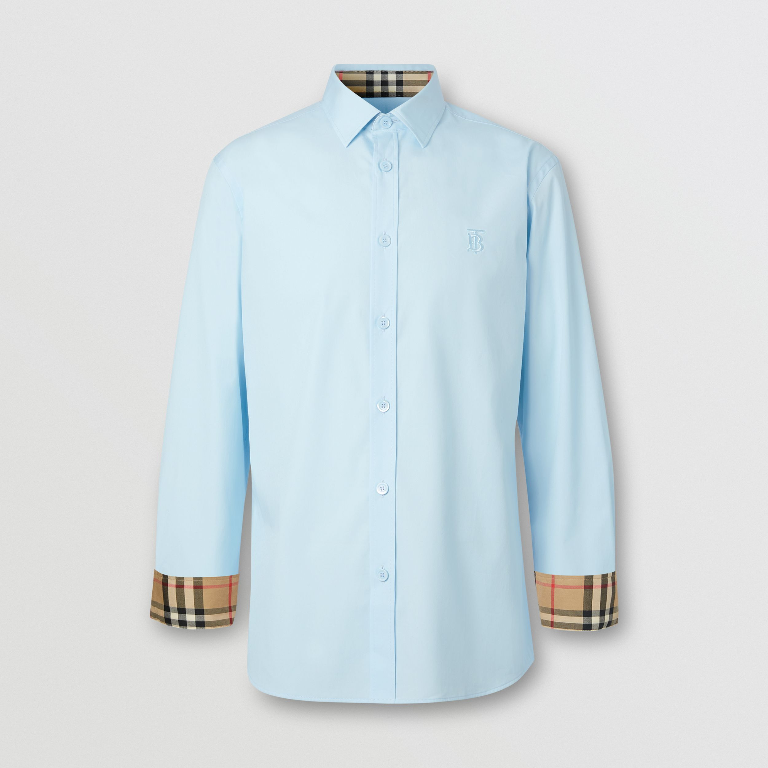 Slim Fit Monogram Motif Stretch Cotton Poplin Shirt in Pale Blue - Men | Burberry Hong Kong S.A.R. - 4