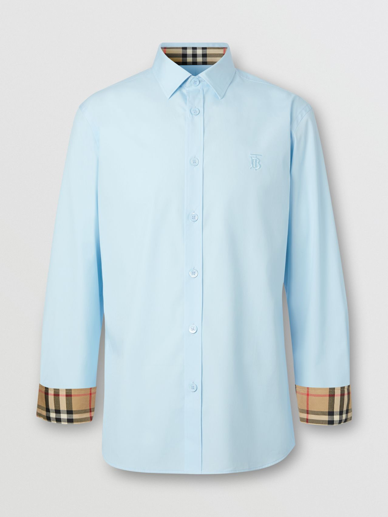Slim Fit Monogram Motif Stretch Cotton Poplin Shirt in Pale Blue
