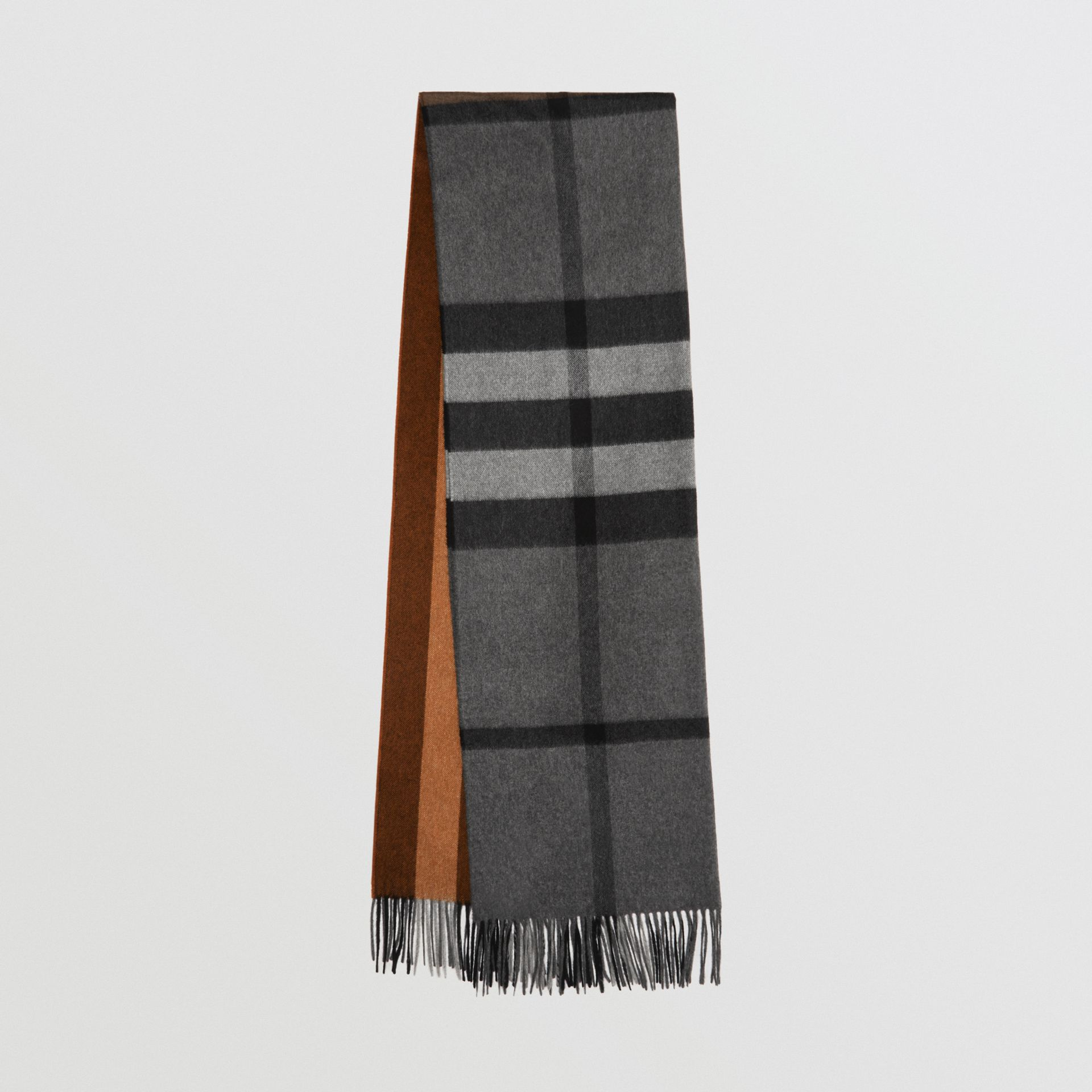 Colour Block Check Cashmere Scarf in Toffee | Burberry United Kingdom - gallery image 0
