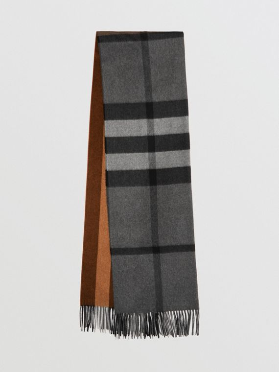 Colour Block Check Cashmere Scarf in Toffee