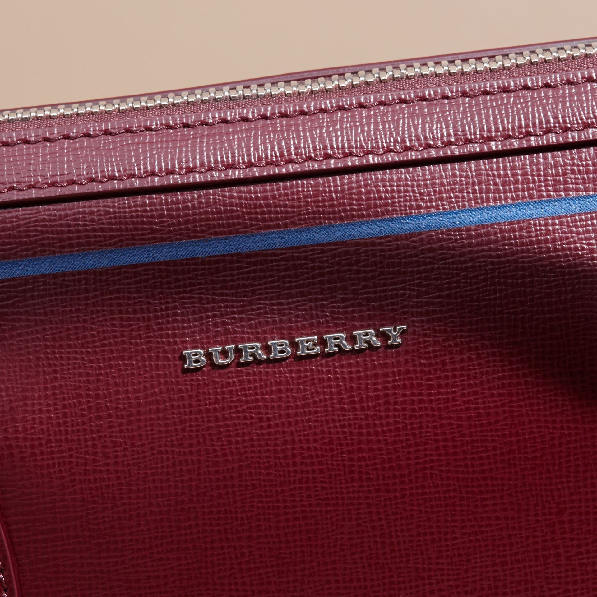 The Slim Barrow Bag in London Leather with Border Detail Burgundy Red - gallery image 7