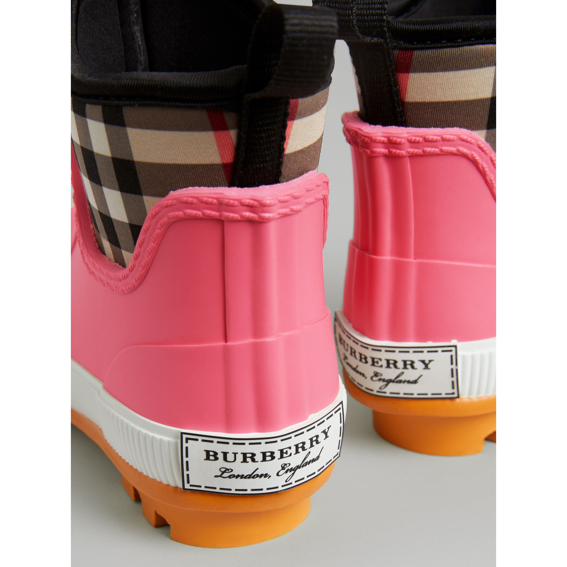 Vintage Check Neoprene and Rubber Rain Boots in Pink Azalea | Burberry - gallery image 1