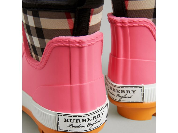 Vintage Check Neoprene and Rubber Rain Boots in Pink Azalea | Burberry - cell image 1