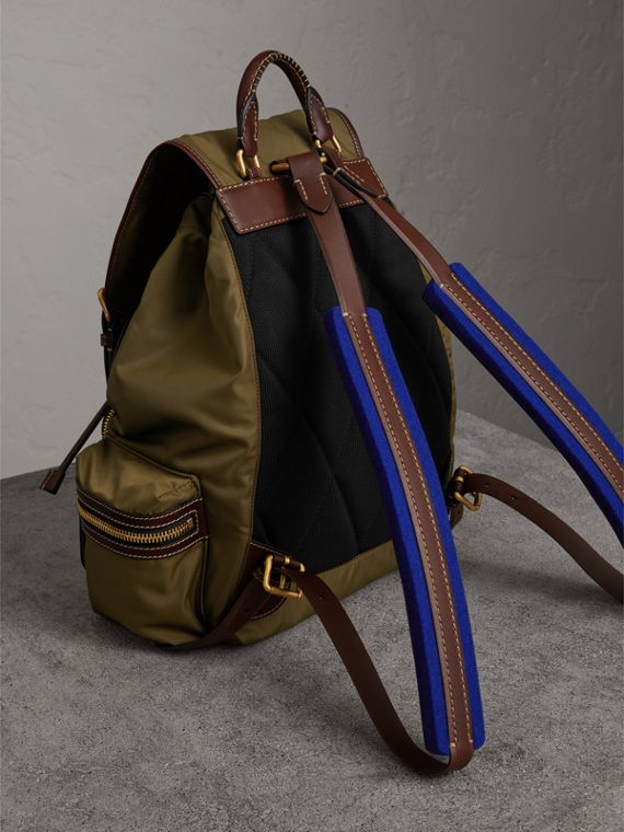 The Large Rucksack in Technical Nylon and Topstitched Leather in Dark Antique Green | Burberry - cell image 2