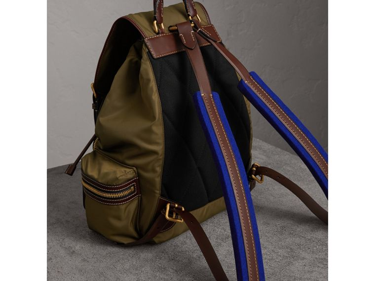 The Large Rucksack in Technical Nylon and Topstitched Leather in Dark Antique Green | Burberry - cell image 4
