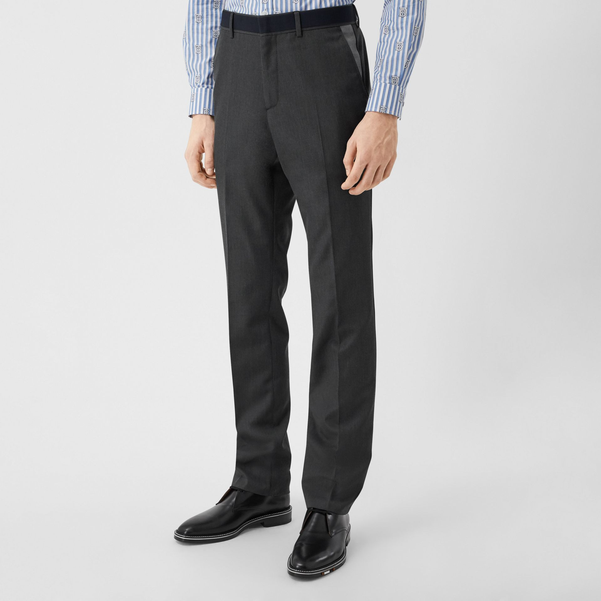 Classic Fit Panelled Wool Tailored Trousers in Charcoal - Men   Burberry United Kingdom - gallery image 5
