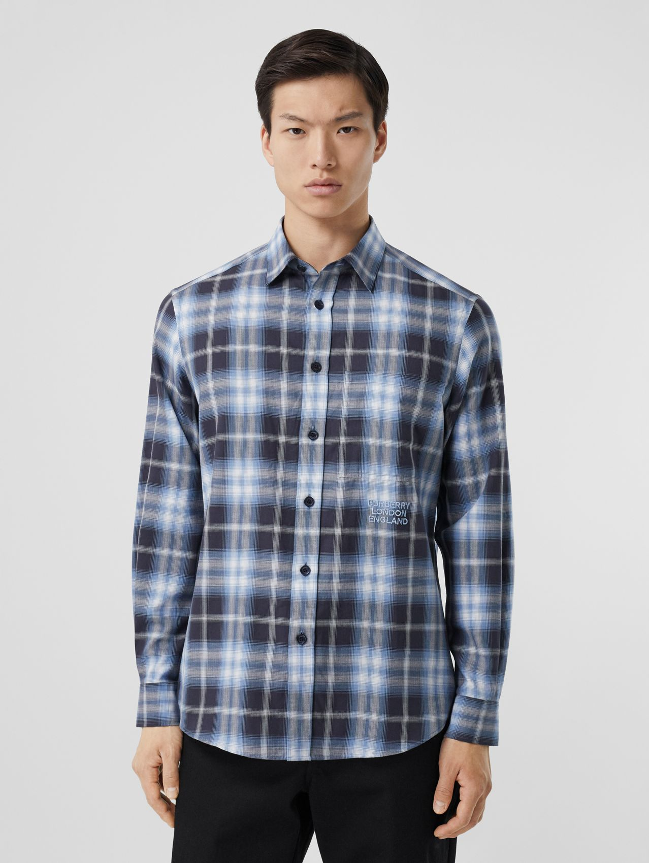 Embroidered Logo Ombré Check Cotton Shirt in Navy